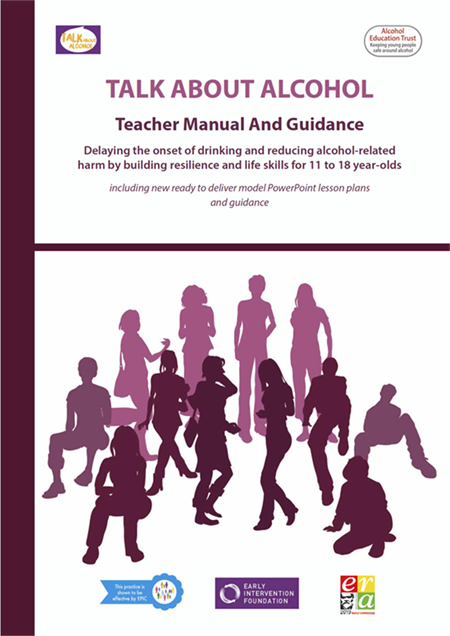 100 page Talk About Alcohol workbook of 30 lesson plans, guidance, activities and games suitable for 11-18 year olds